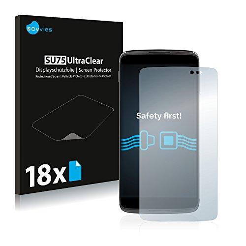 Savvies 18x Schutzfolie kompatibel mit Alcatel One Touch Idol 3 (5.5) Bildschirmschutz-Folie Ultra-transparent
