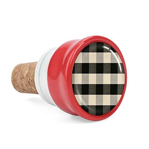Buffalo Bouchon de bouteille de vin carré en céramique avec treillis noir et gris pour les amateurs de vin, les bars, la cuisine, les fêtes, les mariages – Garde le vin frais 4,1 cm