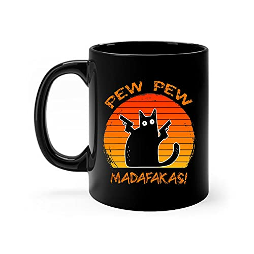 Funny Cat Gifts - Madafakas Pew Pew Cat With Two Guns Vintage Presents For Cat Lovers Funny Cat Coffee Mugs 11oz