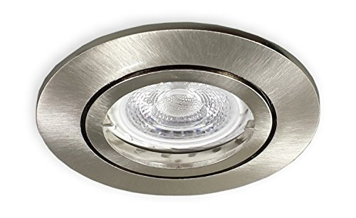 Preisvergleich Produktbild LED Einbaustrahler GU10 230 V alu gebürstet für 68er Lochbohrung - 3er SET Einbauleuchten Spots Strahler inkl. 7 W LED (PA-TLW) Leuchtmittel und GU10 Fassung - Deckeneinbaustrahler