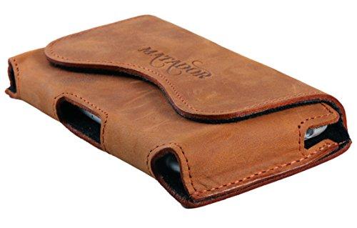 MATADOR kompatibel zu iPhone 8 Ledertasche Handytasche Gürteltasche ECHT Vintage Leder Hülle Case mit Gürtelclip, Schlaufe und Magnetverschluss Rost Hell Braun