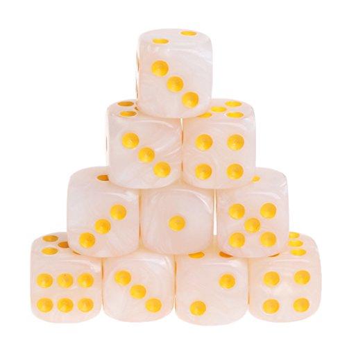 Manyo 10pcs 6 Seitige Würfel, leicht und tragbar, perfekt für Brettspiel, Club und Bar Spiel Tool, Familienspiel, Math Teaching. (Beige)
