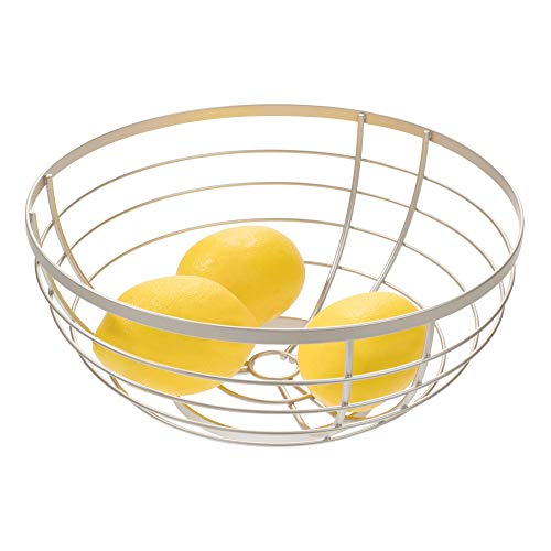 iDesign Austin Metal Wire Fruit Bowl Centerpiece for Kitchen and Dining Room Countertops, Tables, Buffets, Refrigerators, Matte Satin