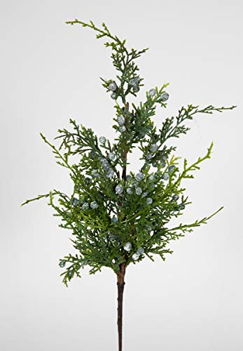 Seidenblumen Roß Wachholderzweig 50cm mit Früchten GA künstlicher Zweig Wachholder