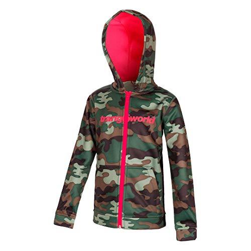 Trangoworld Oby-P Sweatshirt Mixte Enfant, Vert Kaki/Rose Fuchsia, 14