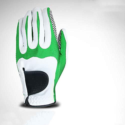 Golfhandschuh Golf-Handschuhe Herren Golf Mikrofaser Handschuhe Einzel Anti-Rutsch-Partikel sechs Farben Left Hand Golf-Handschuhe Für den Golfsport (Farbe : Grün, Size : M)