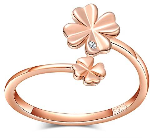 CPSLOVE Anillo trébol de mujer niña, anillo de plata 925, anillo trébol elegante, anillo de cola, circón con incrustaciones, anillo abierto, anillo de bodas, Circunferencia de dedo adecuada:48,5-57mm