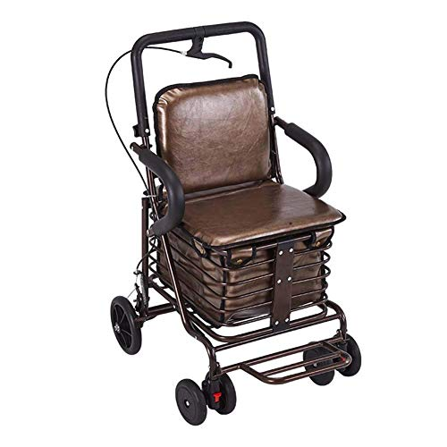 SXRNN Große Kapazität rollator faltbar und leicht gehwagen rollator klappbar Bequemes Kissen mit Leder Und Handbremse