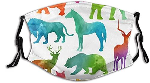 Protector facial protector bucal arco iris de colores dibujos animados africanos primitivos animales salvajes lindo patrón pasamontañas bucal bandanas cuello polaina con 2 filtros