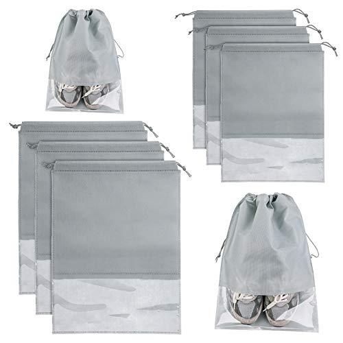 Schuhbeutel aus Stoff mit Kordelzug und transparentem PVC-Fenster, Unisex, praktisch, staubdicht, wasserdicht, für Reisen und Zuhause, Grau