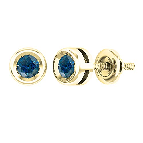 0.25 Carat (ctw) Round Blue Diamond Ladies Solitaire Stud Earrings 1/4 CT, 14K Yellow Gold