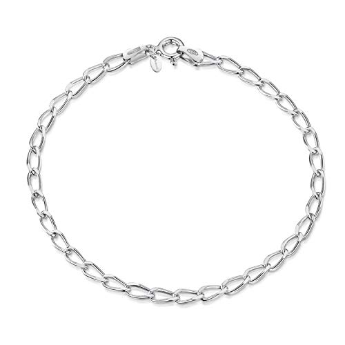 Amberta - Pulsera de Cadena para Mujer en Plata de Ley 925 con Eslabones Ovalados para Charms (20 cm Ajustable): Plata