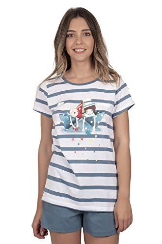 Santoro Pijama Manga Corta Paper Boat para Mujer, Color Azul, Talla M