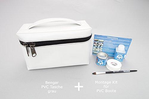 Set: PVC Tasche + Kleber Kit (grau) abnehmbar für Schlauchboote aus Valmex PV-K2