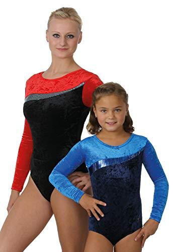 """'FISCHER 7818body ginnastica """"Lily""""per ragazza a maniche lunghe, costume ginnastica ritmica effetto velluto torbido, con stampa glitter, diversi colori e misure, Bambina, nero/rosso, 128"""