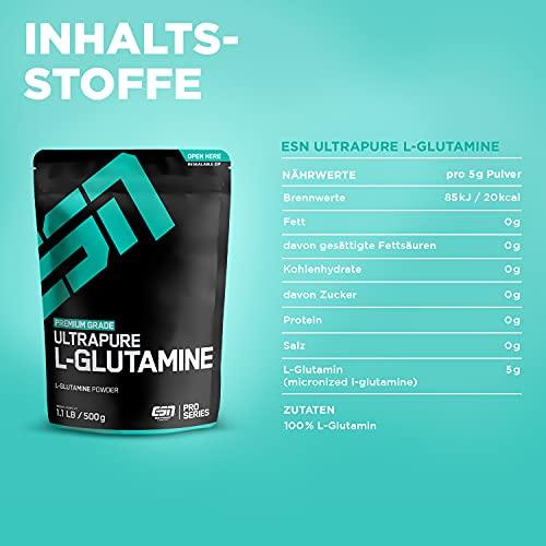 ESN Ultrapure L-Glutamine Powder, Pro Series, 1er Pack (1 x 500g Beutel) - 4