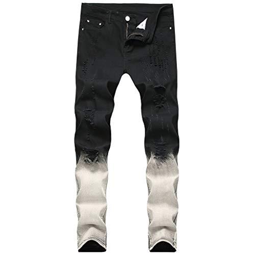 Xmiral Jeans Herren Slim Strecken Denim Bleistifthosen Reißverschluss Jogginghose Zerrissene Hosen Große Größe(Schwarz 1,33)
