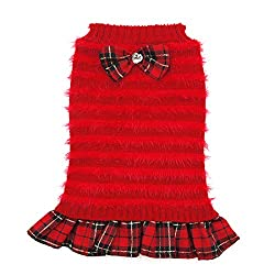 Dog turtleneck sweater in red frills with bowtie.