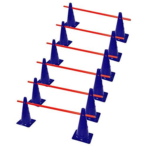 RHINOS sports Steckhürdenset 6er | 12 Blaue Kegel: 38cm | 6 rote Stangen: 1m