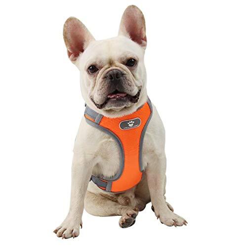 FEimaX Arnés para Perro Ajustable Pet Harness Arnes Reflectante de Malla Suave Transpirable Arnés Chaleco para Cachorros Perros Grandes Medianos Pequeños para Correr, Entrenamiento (M, Naranja