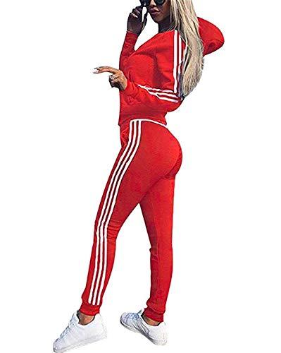 Yueyue Tuta Donna Sportiva Abbigliamento Felpa Tops E Pantaloni Jogging Manica Lunga Pullover Tuta Ginnastica per l'autunno Primaverile Invernale (Rosso, XXL)