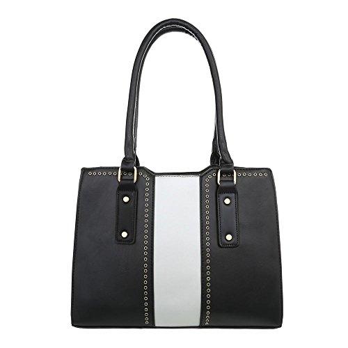 Ital-Design Damen-Tasche Mittelgroße Schultertasche Used Optik Handtasche Kunstleder Schwarz Weiß TA-K659