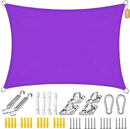 WYYL Sonnensegel Wasserdicht Oxford Sonnenschutz Rechteckig, Wetterbeständig mit UV Schutz Windschutz, Vielen Größen Farben, für Garten Terrasse Camping- Purple  ...