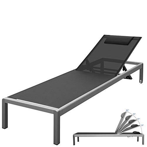 RS Trade 'Monaco XXL' Outdoor Aluminium Sonnenliege (bis 160 kg belastbar) mit reißfester Textil Bespannung und 5-fach verstellbarer Lehne und Rollen, Alu Gartenliege inkl. Nackenrolle, Bezug: Schwarz