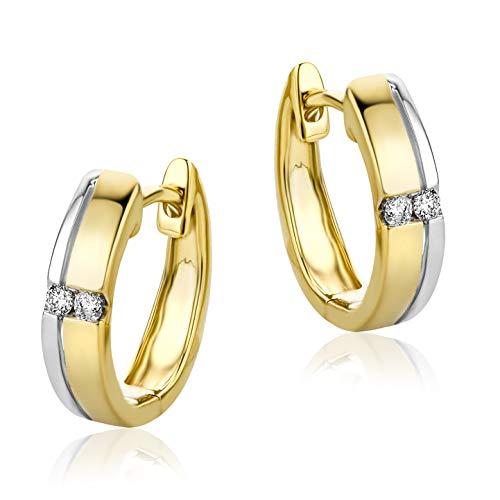 Orovi Damen Ohrringe Bicolor Gelbgold und Weißgold 0.06 Ct Diamant Creolen 14 Karat (585) Gold und Diamanten Brillanten