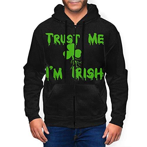 Tengyuntong Hombre Sudaderas con Capucha, Sudaderas, Trust Me I'm Irish Men's 3D Print Full Zip Up Hoodie Hooded Pocket Hoodie Zipper Hoodie