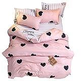 Ed-lumos juego de ropa de cama 4piezas para cama 105cm funda nórdica 180x220cm sábana encimera 230x230cm funda de almohada 48x74cm poliéster color melocotón con corazón negro día de san valentín