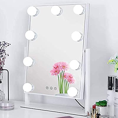 Nusvan Hollywood Vanity Mirror with Lights, Light Up Makeup Mirror, Large Lighted Makeup Mirror with 3Color Lighting Modes, Detachable 10x Magnification, Tabletop or Wall-Mounted, White