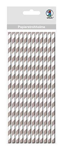 Ursus 56760009 mit Streifen Motiv in grau, biologisch abbaubar, lebensmittelecht, wasserfest, zum Gestalten und Dekorieren, 16 Stück, Länge 19,5 cm, Durchmesser 0,8 cm