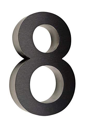 8 Hausnummer 3D Edelstahl V2A diamant - anthrazit Höhe 25 cm Arial XXL Größe wetterfest rostfrei V2A im Shop 0 1 2 3 4 5 6 7 8 9 a b c (8)