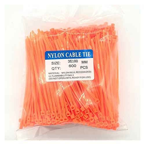 JJSCCMDZ Brida de Nailon para Cables 600 unids Green 3x100mm Nylon Cable...