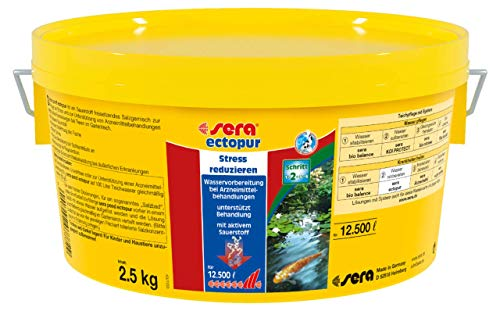sera 07772 pond ectopur 2,5 kg - Erleichterung bei Krankheit und Stress - Salz, das verschiedene medikamentöse Behandlungen sinnvoll ergänzen im Gartenteich oder Teich bzw. bei Koi & Goldfischen