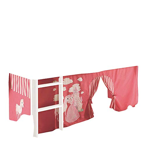 Jugendmöbel24.de Vorhang Prinzessin 3-teilig 100% Baumwolle Stoffvorhang inkl Klettband für Hochbett rosa pink Kinderzimmer Spielbett Etagenbett Stockbett Kind