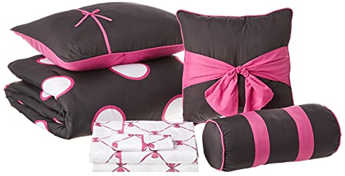 VCNY Home Sophie Collection Comforter Soft & Cozy Bedding Set, Stylish Chic Design for Home Décor, Machine Washable, Twin, Black/Pink, 8 Piece