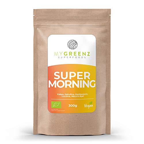 MyGreenz - Super Morning Pulver - Kombination aus 6 gesunden Zutaten | reich an Vitaminen, Mineralien & Antioxidantien | Vitalität, Fitness & Wohlbefinden | Bio-Qualität | vegan & ohne Zusätze | 300g