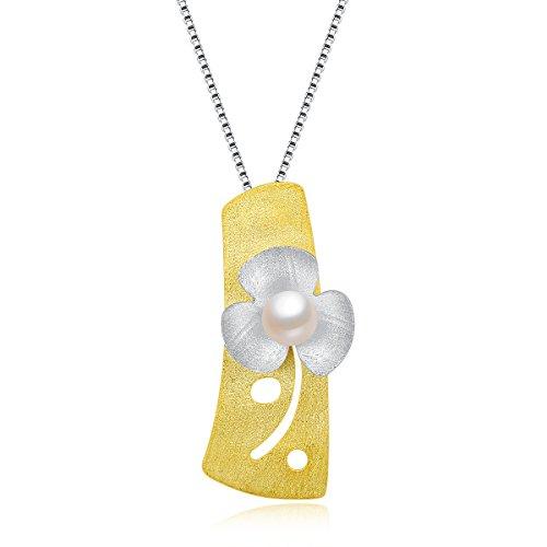 City Ouna Argento 925 e collana in oro placcato per le donne le ragazze di fiori di perle ciondolo gioielli (oro e argento)