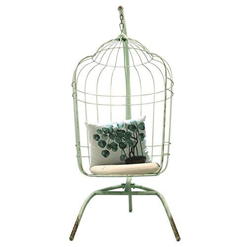 Anmy Silla Colgante Balcón Swing Colgando Silla de Cola de Hierro labrado Silla Dormitorio Jaula de pájaro Cuna sillón (Color : Verde, Size : 84.5x112x191.5cm)