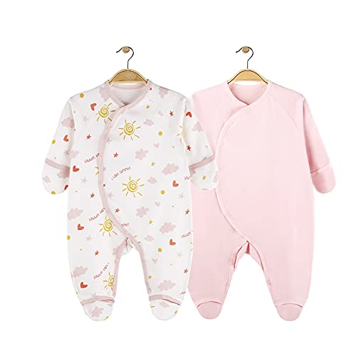 Daffjoe Juego de 2 pijamas para bebé con pies y guantes, 100% algodón, para bebés de 0 a 6 meses Rosa 0-3 Meses