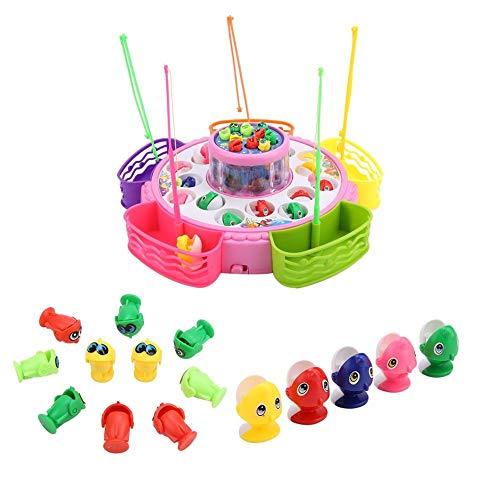 VGEBY Visspeelgoed, elektrisch draaiend bad vissen speelgoed magnetische visspel bord met muziek voor kinderen en peuters