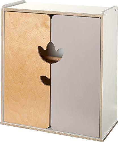 HABA 304861 - Puppenschrank Tulpentraum, Zubehör für alle HABA-Puppen, mit Tulpendekor, inklusive 1 Einlegeboden, 1 Stange und 3 Kleiderbügel, ab 18 Monaten