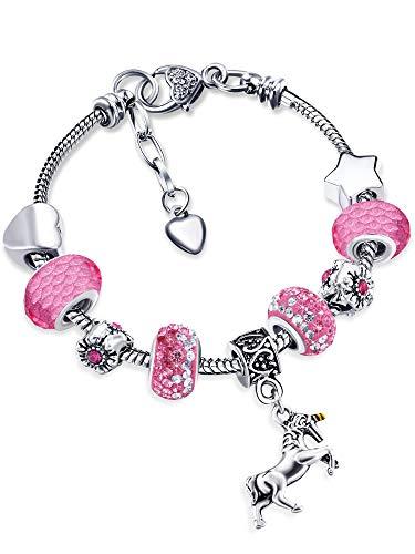 Einhorn Charm Armband Glänzender Kristall Strass Armreif mit Einhorn Geschenkbox Karten Set für Mädchen Dame (Rosa, 16)