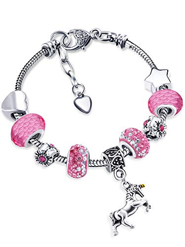 Unicorn Sparkly Crystal Charm Bracelet Bangle with Gift Box Set for Girl Lady (Pink B, 14 cm/ 5.5 Inch)