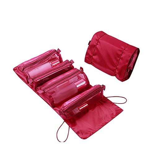 Neceser plegable, bolsa de viaje portátil para mujeres, bolsa de cosméticos enrollada, neceser portátil para mujeres, bolsa de malla con cremallera desmontable, 4 bolsas de almacenamiento de viaje mul