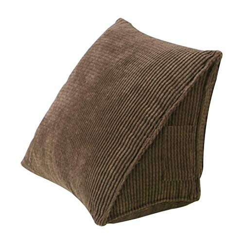 Almohada Triangular Trasera, Almohada de cuña de Soporte de Cama, cojín de Respaldo para sofá, Silla de Oficina, cojín para sofá para Adultos y niños (café)