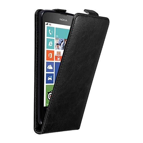 Cadorabo Hülle für Nokia Lumia 630/635 in Nacht SCHWARZ - Handyhülle im Flip Design mit unsichtbarem Magnetverschluss - Hülle Cover Schutzhülle Etui Tasche Book Klapp Style