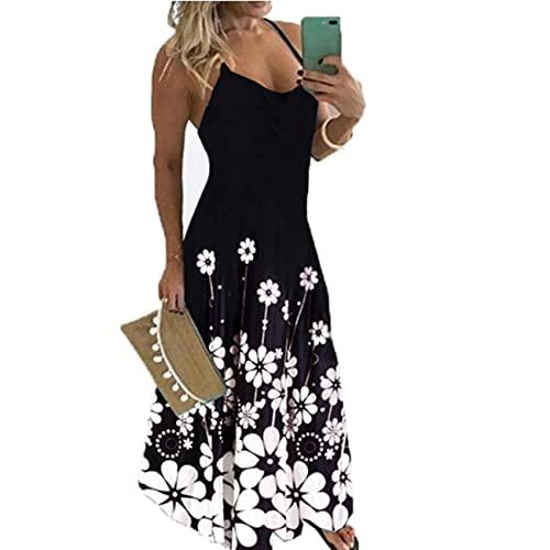 Damen Slim Fit äRmelloses Blumen-Sling-Kleid Mit V-Ausschnitt Und TräGer